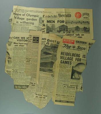 Newspaper clippings related to 1956 Olympic Games housing