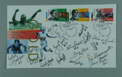 Copy of autographed first day cover, 1996 Australian Olympic Games team