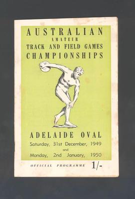 Programme, Australian Amateur Track & Field Championships - 31 Dec 1949 & 2 Jan 1950