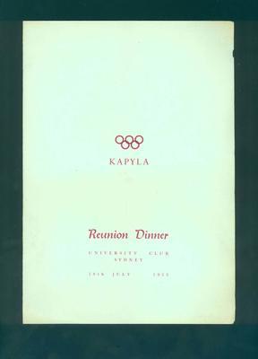Programme, Australian Helsinki Olympic Team Reunion Dinner - 18 July 1953