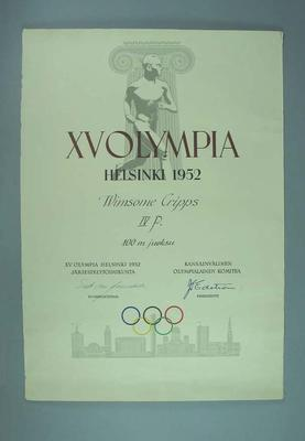 Certificate awarded to Winsome Cripps, 1952 Helsinki Olympic Games - women's 100m final, fourth place