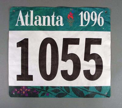 Number patch worn by Steve Moneghetti in the marathon, 1996 Olympic Games Atlanta