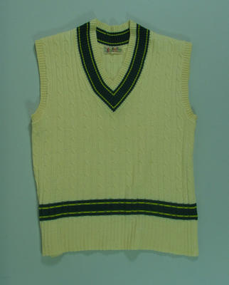Cricket vest worn by Neil Harvey, 1953 Tour of England
