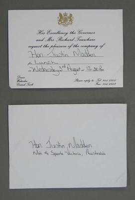 Invitations addressed to Justin Madden, 2002-2006-2010 Commonwealth Games