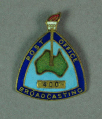 Badge -  Post Office Broadcasting Identification badge, no. 400 - 1956 Olympic Games - worn by L.G. Williams