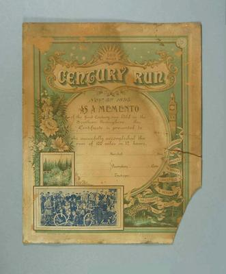 Participant's Certificate - 100 Miles Century Run 5/11/1895 presented to F.W. Futcher