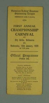 Programme, Victorian Ladies' Amateur Swimming League Carnival 16 Jan 1929
