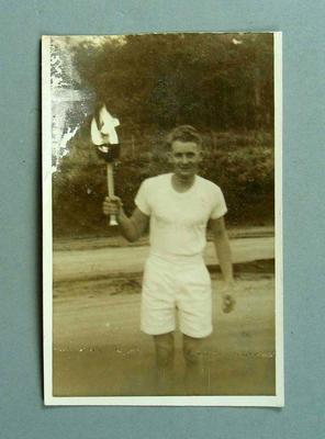 Photograph of John Sheppard, 1956 Olympic Games Torch Relay