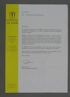 Invitation to 2001 Commonwealth Games General Assembly, addressed to Justin Madden