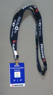 Qantas boarding passes and VIP tag, associated with 2006 Commonwealth Games