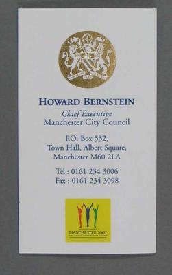 Business card, Howard Bernstein - 2002 Manchester Commonwealth Games