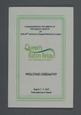 Programme, Queen's Baton Relay Welcome Ceremony - Turks and Caicos Islands 2005