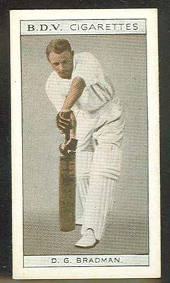 1933 Godfrey Phillips (BDV) Who's Who In Australian Sport Don Bradman & Vivian McGrath trade card