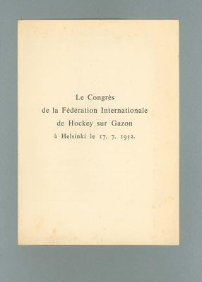 Programme for International Hockey Federation congress, 1952