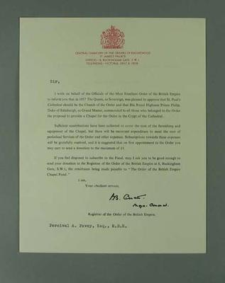 Letter from Order of the British Empire Registrar to P A Pavey Esq MBE, 1971