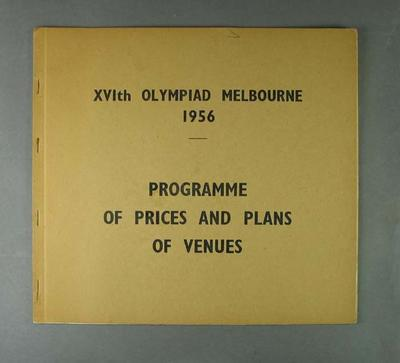 "Two booklets, ""Programme of Prices and Plans of Venues"" - 1956 Olympic Games"