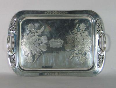 Tray, presented to Sonny Elms by South Melbourne FC c1889