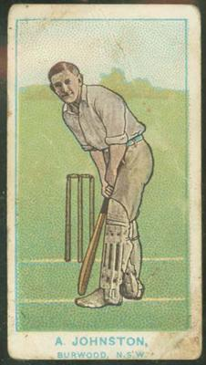 1905 Wills Capstan Australian Club Cricketers Aubrey Johnston trade card