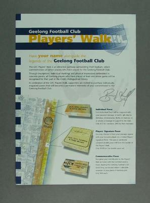 Pamphlet - 'Geelong Football Club Players Walk', part of the Club's 2000 season 'Stand Up & Fight' campaign
