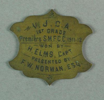 Plaque presented to Sonny Elms, VJCA First Grade Premiers SMFCC 1911-12