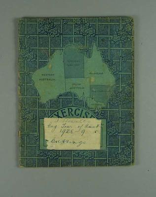 Scrapbook detailing Australia v England Test series, 1928-29