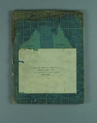 Scrapbook detailing Australia v England Test series, 1932-33