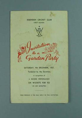 Invitation to Essendon CC First Eleven Garden Party, 4 Dec 1937