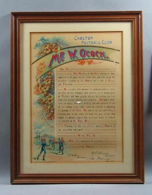 Certificate presented to Mr W Ocock, for services to Carlton FC c1901