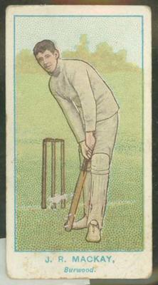 1905 Wills Capstan Australian Club Cricketers J R Mackay trade card