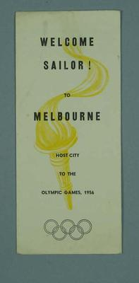 Brochure - 'Welcome Sailor to Melbourne, host city to the Olympic Games 1956'