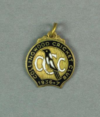 Collingwood Cricket Club membership badge, season 1936-37