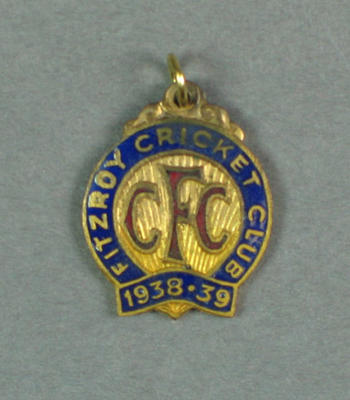 Fitzroy Cricket Club membership badge, season 1938/39; Trophies and awards; 2000.3625.5