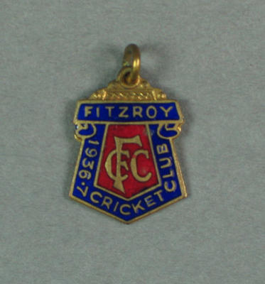 Fitzroy Cricket Club membership badge, season 1936/37