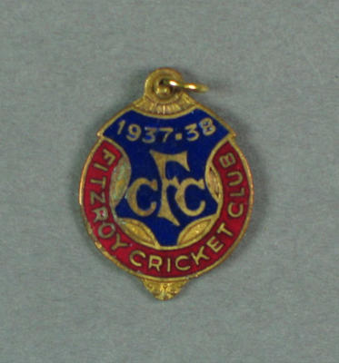 Fitzroy Cricket Club membership badge, season 1937/38