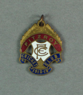 Fitzroy Cricket Club membership badge, season 1918/19