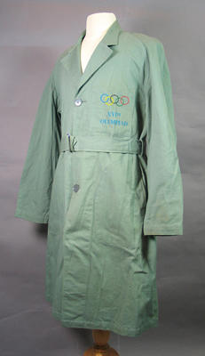 Dust jacket worn by L.J. Watkins when releasing pigeons at Opening Ceremony 1956 Melbourne Olympic Games