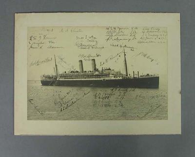 Photograph - 'R.M.S. Ormond with signatures of Australian 1924 Olympic Team