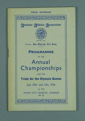 Programme for Amateur Athletic Association Annual Championships, London 1936