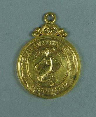 Gold medal presented for first place in VASA 880 yard race c1906-1912, won by Frank Beaurepaire