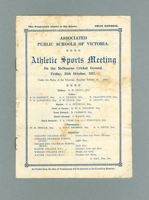 Programme - Athletic Sports Meeting 28th October 1921 at the MCG; Documents and books; 2000.3647.2
