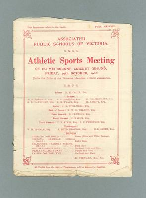 Programme - Athletic Sports Meeting 29th October 1920 at the MCG; Documents and books; 2000.3647.3