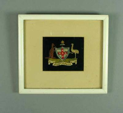 Framed Australian Olympic Team Blazer pocket - 1924 Paris Olympic Games; Clothing or accessories; 2000.3647.5