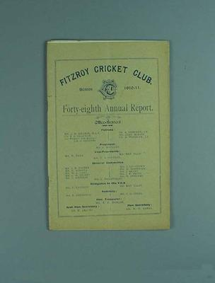 Annual report, Fitzroy Cricket Club - season 1910/11