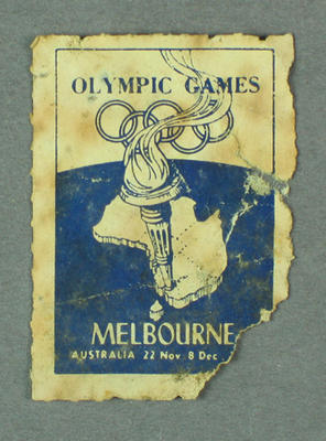 Label, torn - Olympic Games/Melbourne, Australia 1956