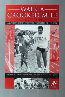 Autographed publicity poster for book about Paralympian Lachlan Jones titled 'Walk A Crooked Mile'