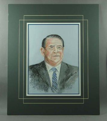 Pastel portrait of Ron Casey, sports broadcaster, signed by artist Bill Millar
