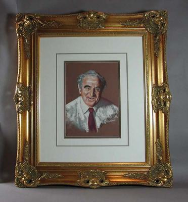 Framed pastel of sports journalist Jack Dunn, artist Bill Millar