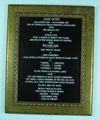 Plaque, relating to Jack Dunn's sport journalist career