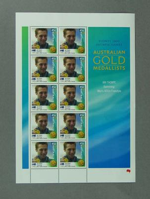Sheet of 45c Australian stamps '2000 Australian Gold Medallists - Ian Thorpe'