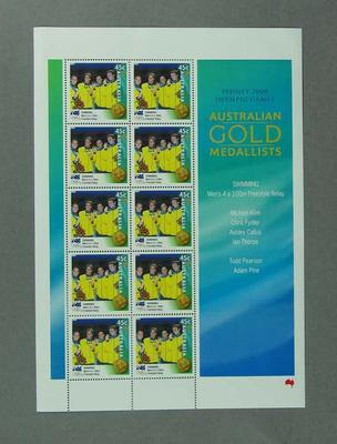 Sheet of 45c Australian stamps '2000 Australian Gold Medallists - Men's 4 x 100 Freestyle Relay'